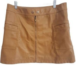 Free People A-line Mini Vegan Leather Brown Skirt